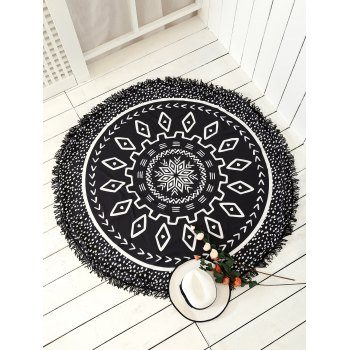 Round Argyle Mandalas Tassel Beach Throw - BLACK BLACK