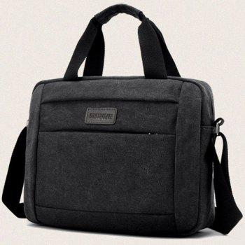 Cross Body Canvas Tote Bag - BLACK