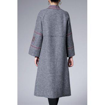 Raglan Sleeve Embroidered Trapeze Coat - GRAY L