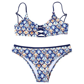 Fish Scales Cami Bikini Set - BLUE M
