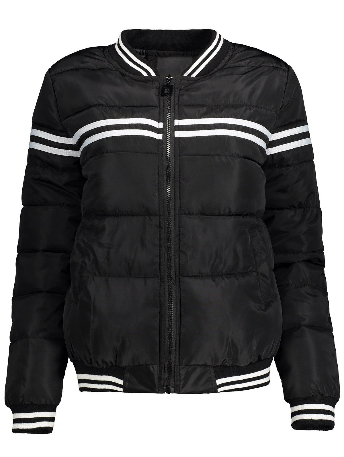 Stripe Panel Quilted Bomber JacketWomen<br><br><br>Size: M<br>Color: BLACK