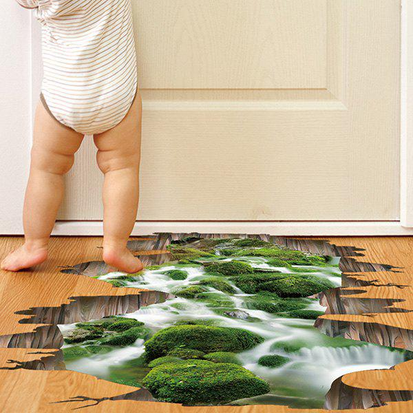 Removable Creative 3D Stream Toilet Floor Sticker - GREEN