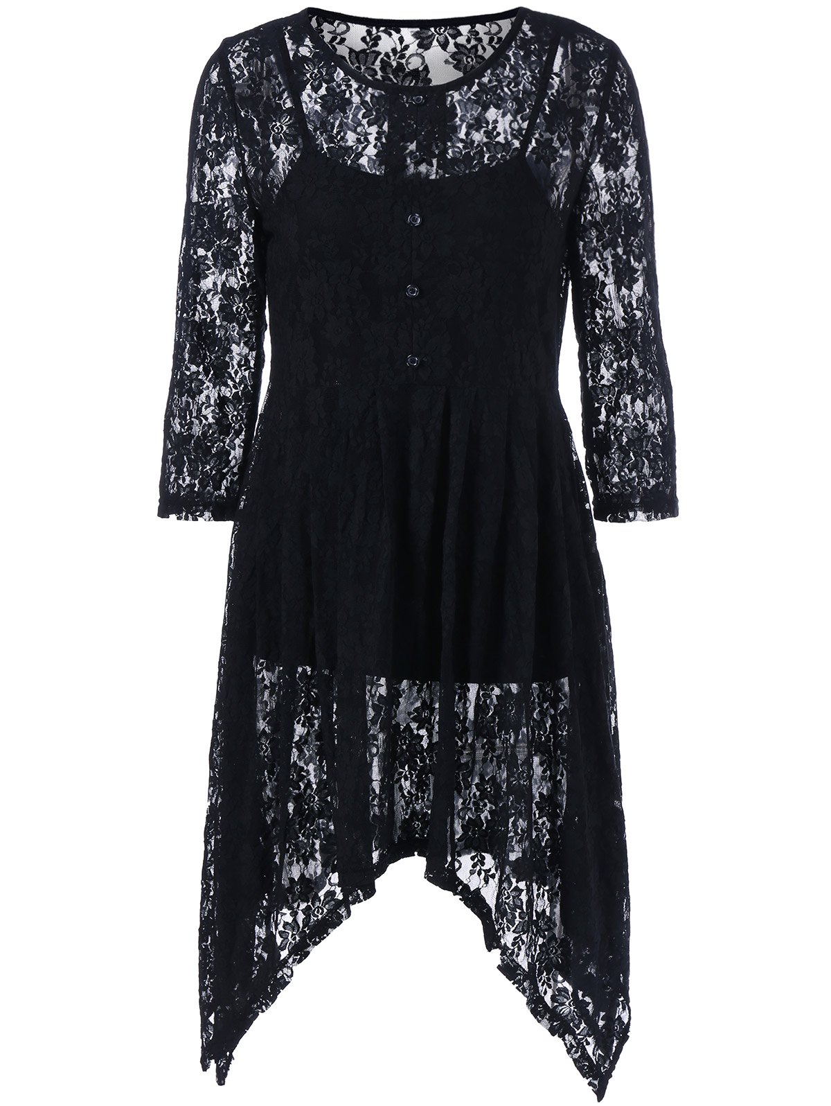 Lace See-Through Asymmetrical Dress with Tank Top - BLACK M