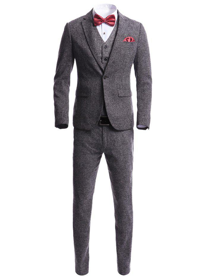 Skinny Heather One Button Tweed Blazer Suit