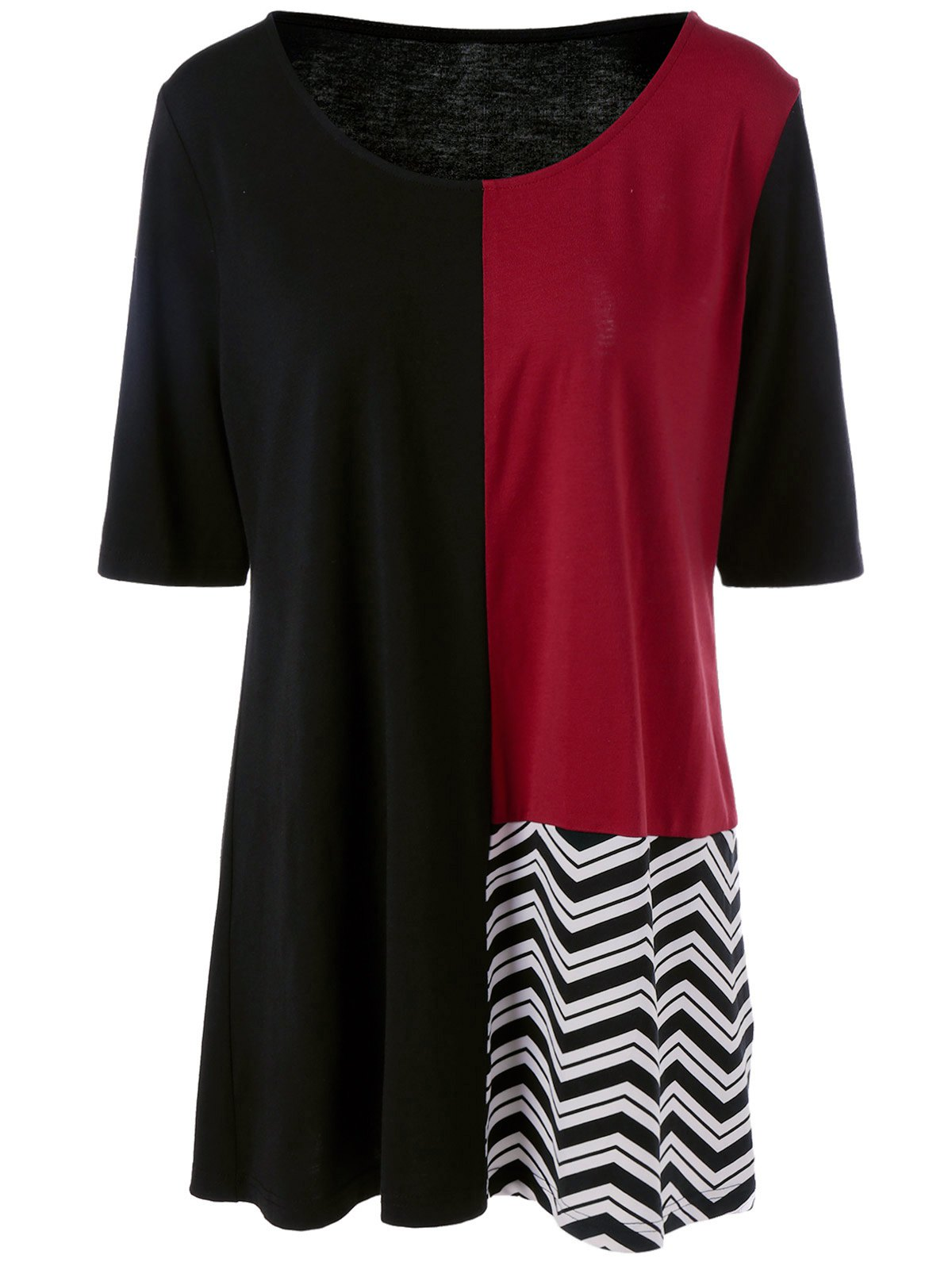 Plus Size Color Chevron Trim Longline T-ShirtWomen<br><br><br>Size: 2XL<br>Color: BLACK AND RED