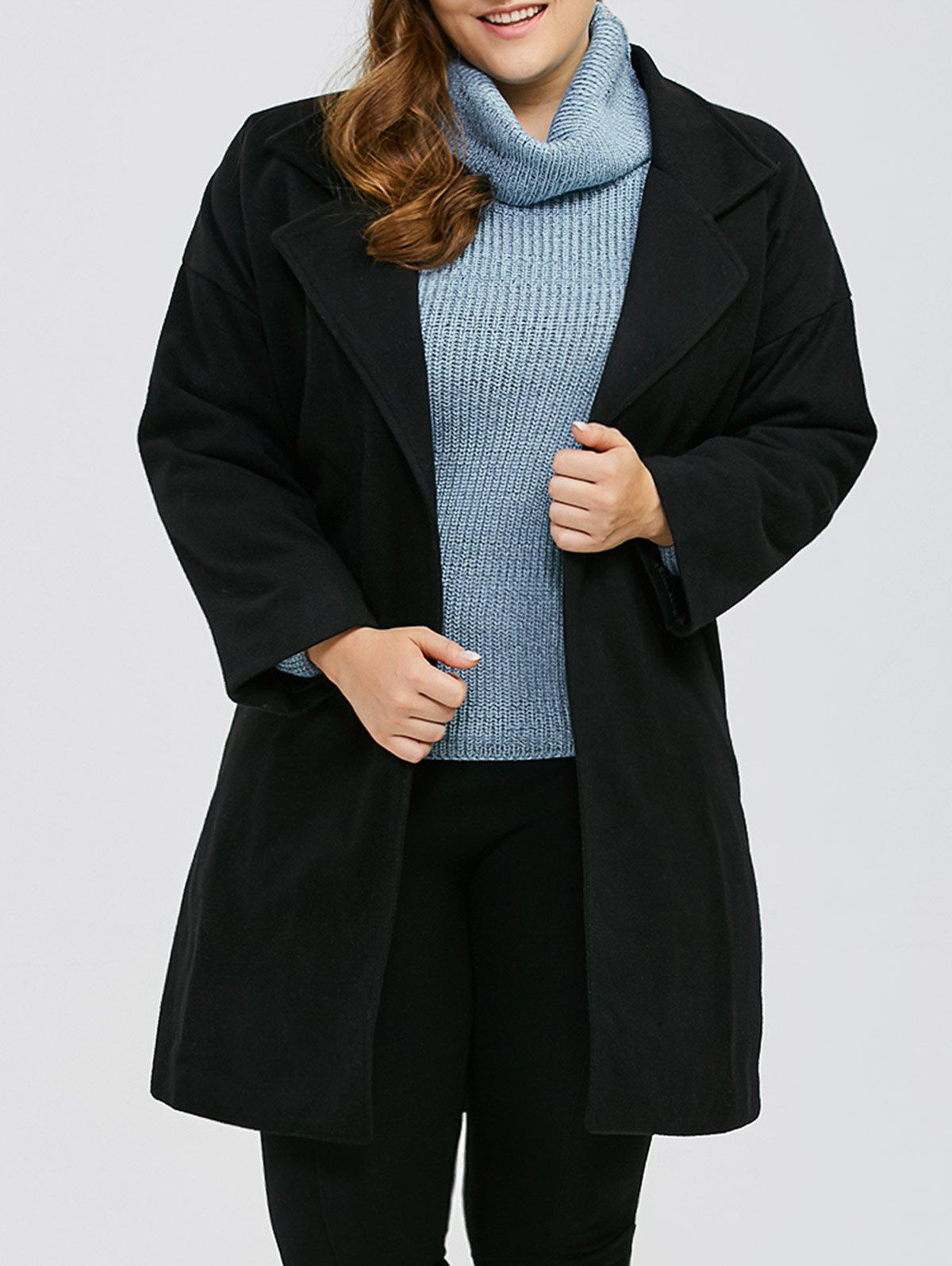 Plus Size Wool Coat With LapelWomen<br><br><br>Size: XL<br>Color: BLACK