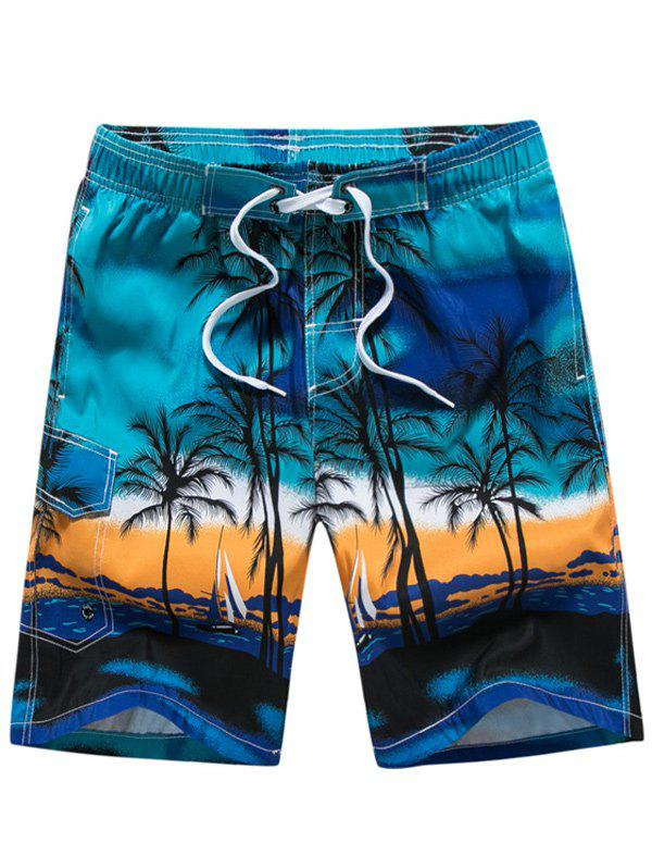 Coconut Tree Print Board Shorts - BLUE M