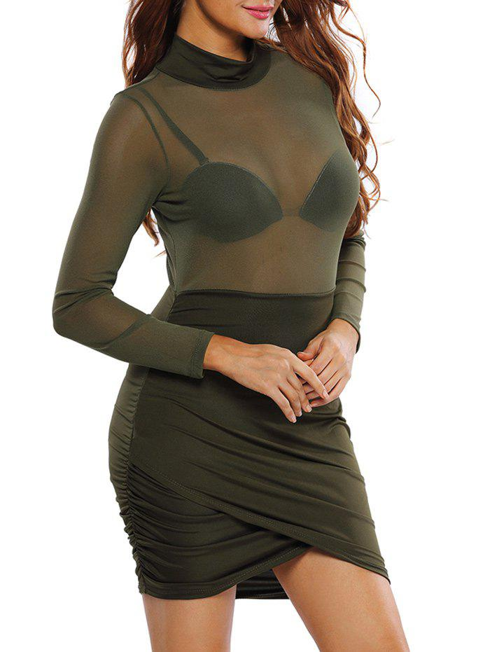 Mock Neck Sheer Ruched Bodycon Dress