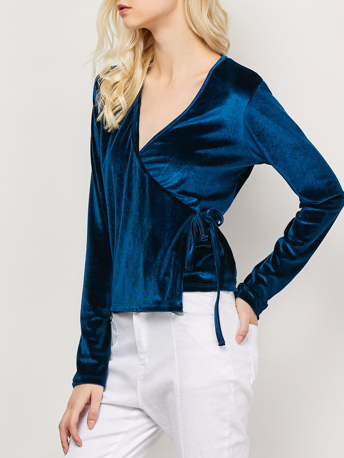 Long Sleeved Velvet Wrap Top - CADETBLUE L