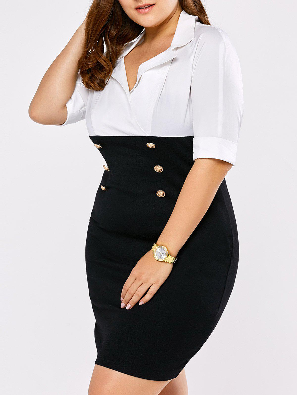 Plus Size Double Breasted Empire Waist Dress