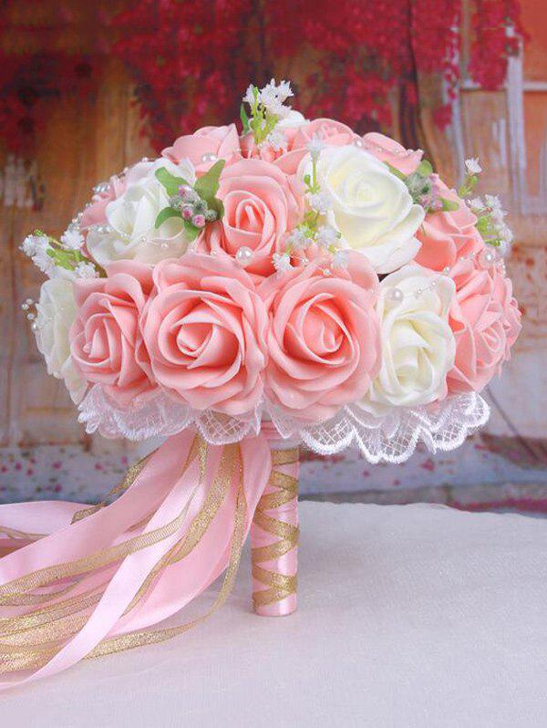 Faux Pearl Chain Artificial Rose Wedding Bouquets - LIGHT PINK