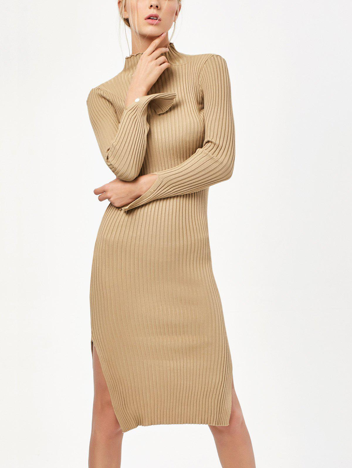 Long Sleeve Side Slit Bodycon Sweater Dress - KHAKI ONE SIZE