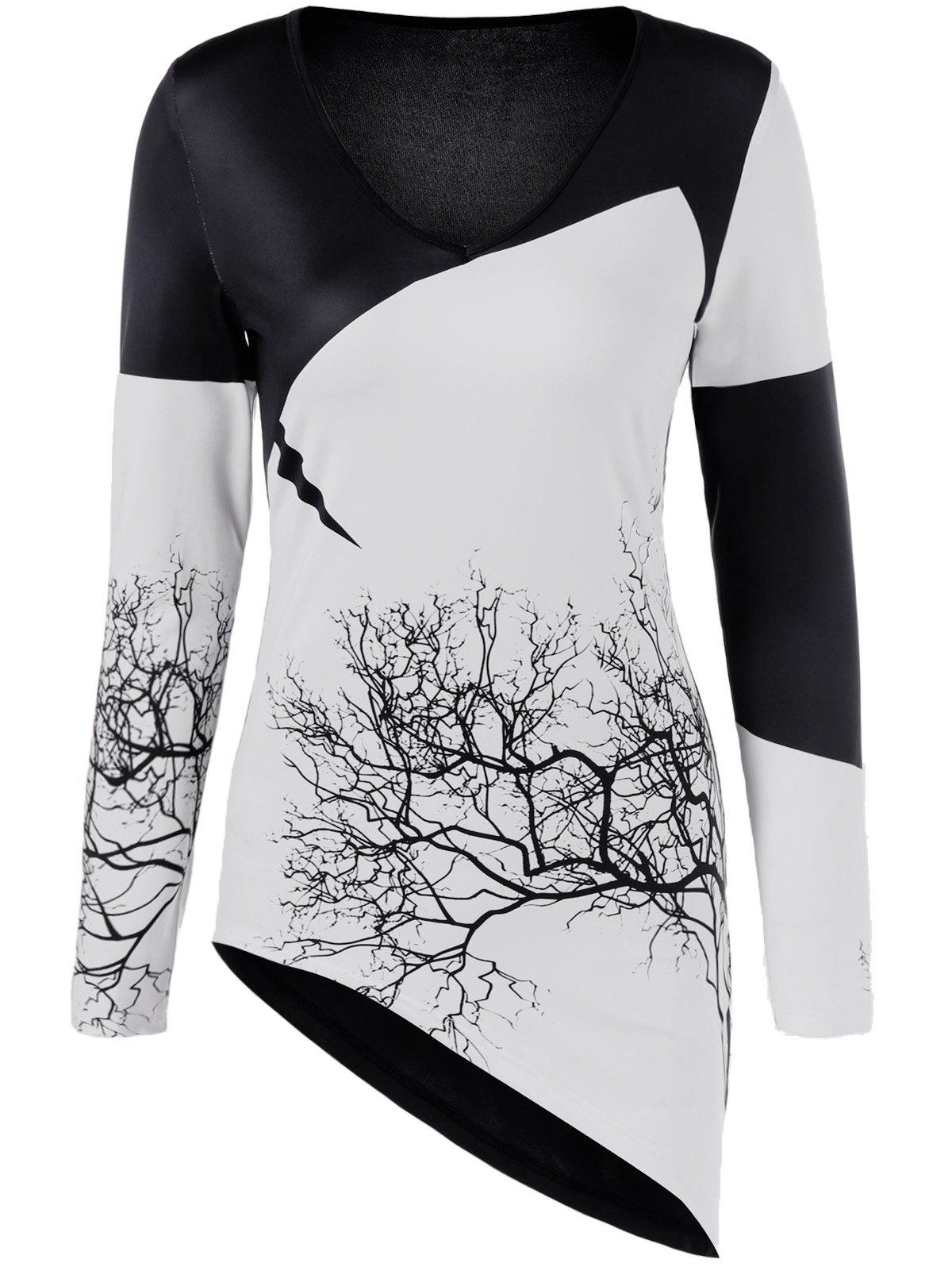 Color Block Tree Print Asymmetric T-Shirt