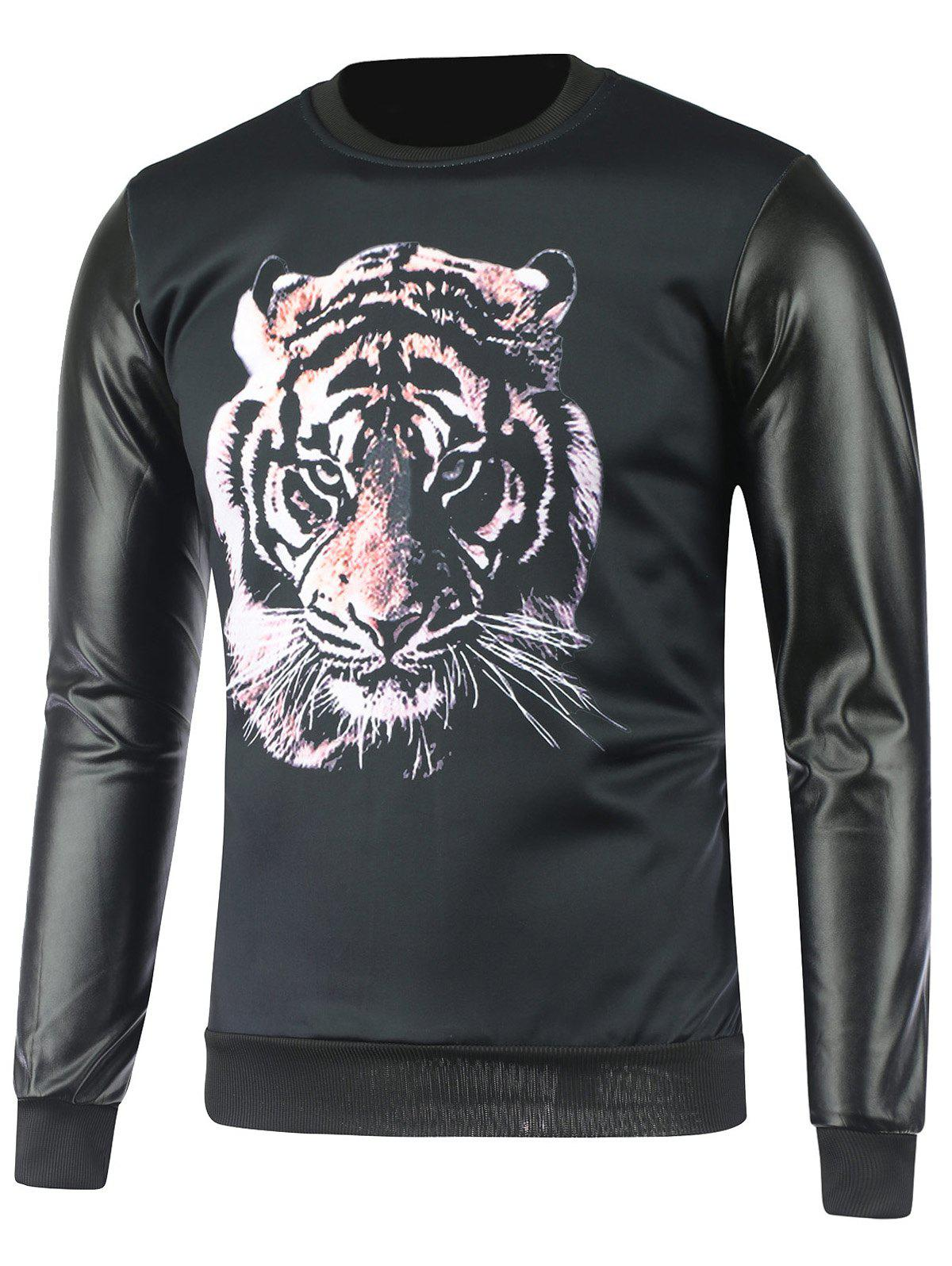 Buy Flocking Crew Neck Tiger Face Print Sweatshirt BLACK