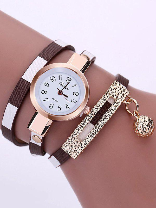 Tinkle Bell Pendant Numerals Bracelet Wrap Watch - COFFEE