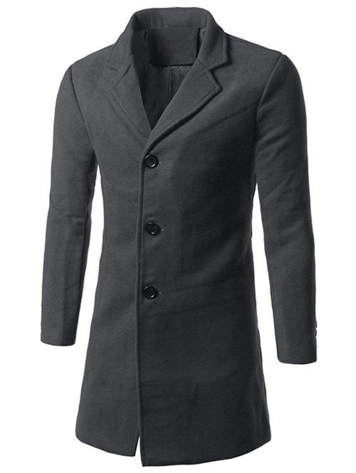 Back Vent Notch Lapel Woolen Coat - GRAY M
