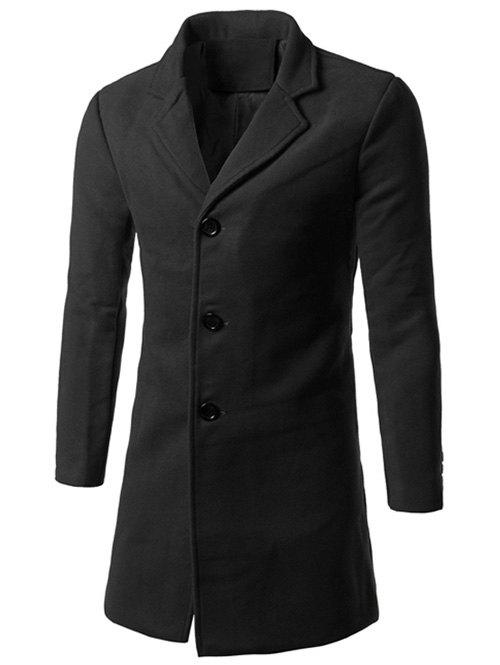 Back Vent Notch Lapel Woolen Coat - BLACK 5XL