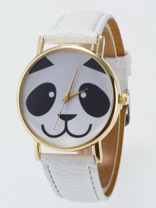 Panda Face Dial Plate Quartz Watch - WHITE