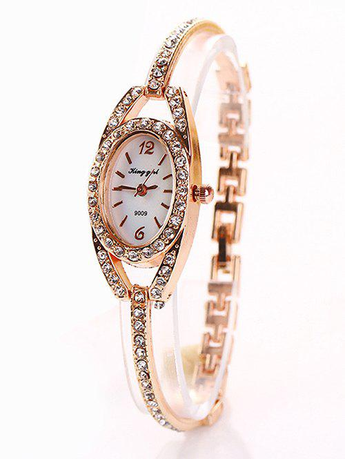 Rhinestone Inlay Alloy Bracelet Oval Watch rhinestone inlay alloy bracelet oval watch