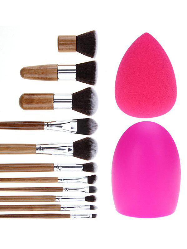 11 Pcs Makeup Brushes Set + Brush Egg + Makeup Sponge pro 15pcs tz makeup brushes set powder foundation blush eyeshadow eyebrow face brush pincel maquiagem cosmetics kits with bag