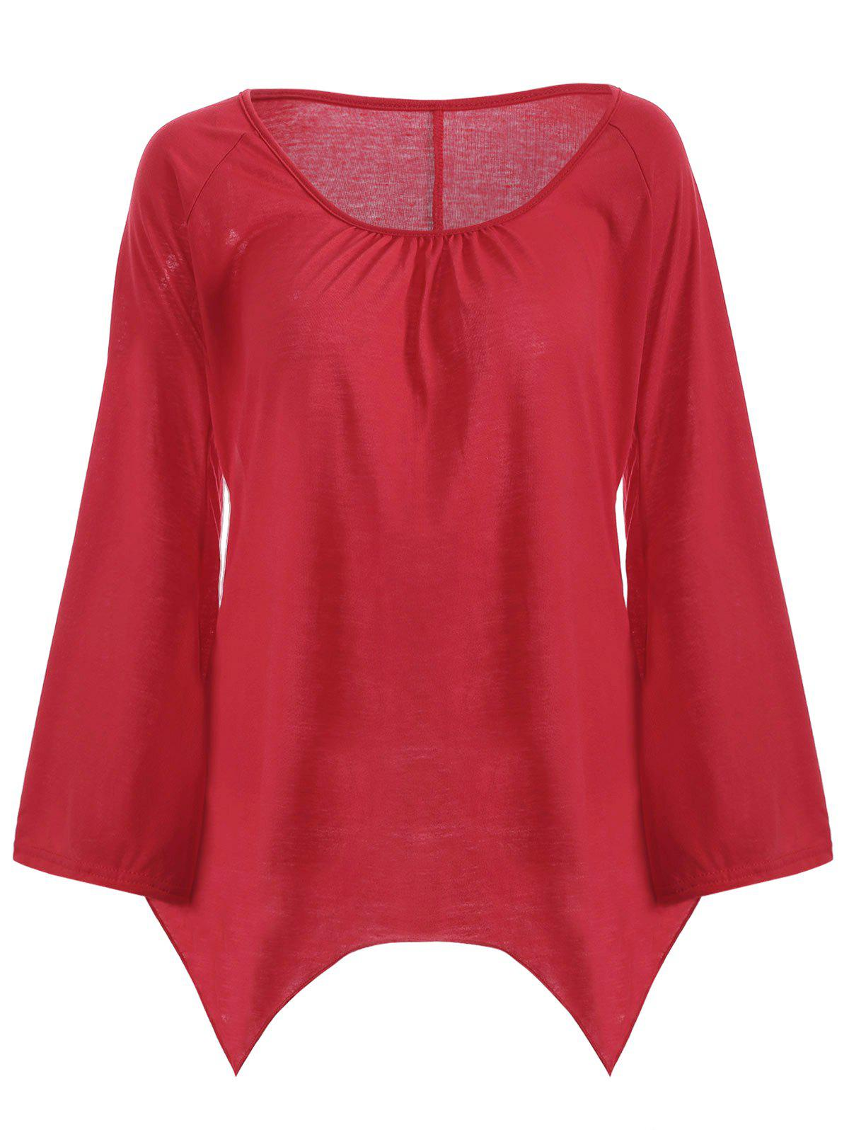 Bell Sleeve Asymmetric Top - RED L