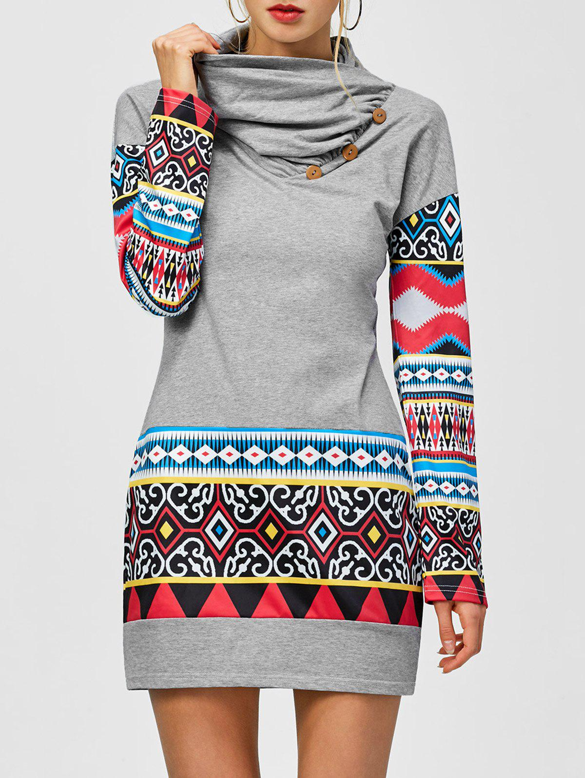 Tribal Print Long Sleeve Sheath Dress - LIGHT GRAY M