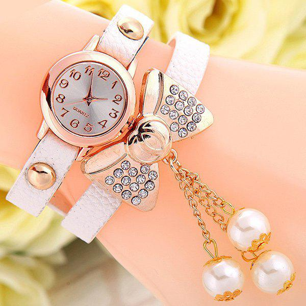Layered Bowknot Faux Leather Bracelet Watch - WHITE