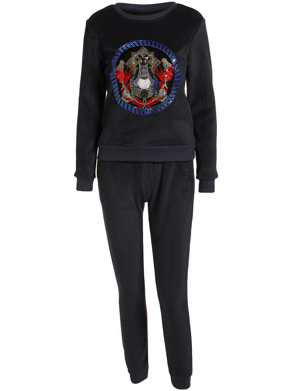 Embroidered Sweatshirt and Running Jogger Sweatpants - BLACK XL