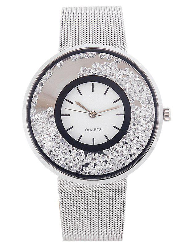 Metal Mesh Band Rhinestones Quartz Watch - SILVER