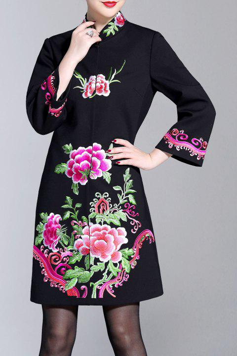 Stand Collar Embroidery Coat - BLACK M