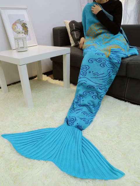 A Fish Leaping Over The River Knitted Mermaid Blanket Throw - LAKE BLUE