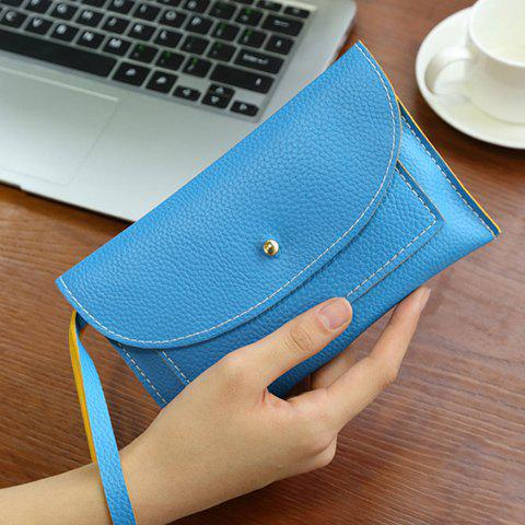 Stitching Flapped Wristlet - BLUE