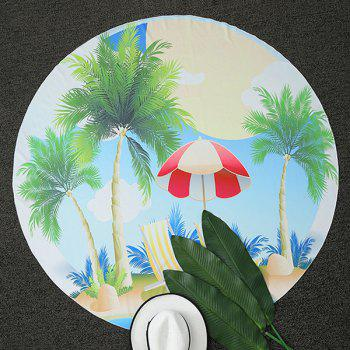 Sunshade Coconut Tree Print Round Beach Throw