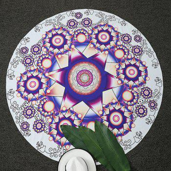 Ethnic Floral Print Round Beach Throw