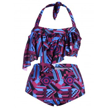 Trendy Halter Printed Asymmetrical Plus Size Women's Bikini Set