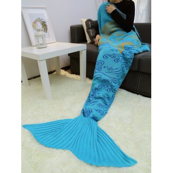 A Fish Leaping Over The River Knitted Mermaid Blanket Throw
