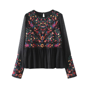Floral Embroidered Pullover Blouse