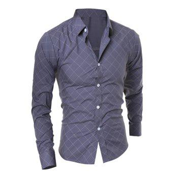 Long Sleeve Diamond Shirt - GRAY L