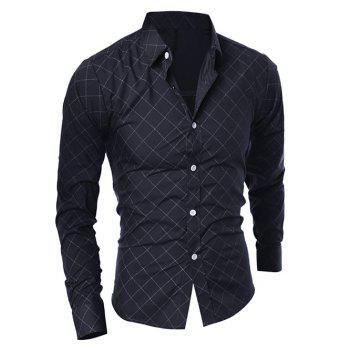 Long Sleeve Diamond Shirt - BLACK L