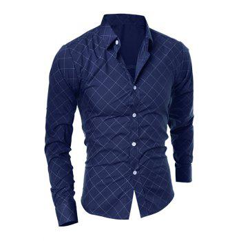 Long Sleeve Diamond Shirt - CADETBLUE XL