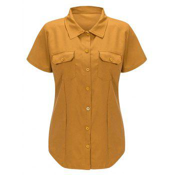 Front Pockets Button Chiffon Shirt