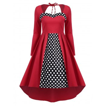 Backless Polka Dot High Low Retro Dress