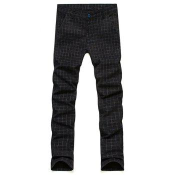 Slim Fit Zipper Fly Plaid Pants