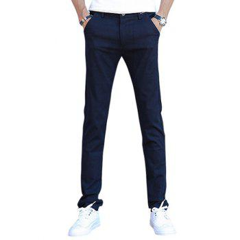 Zipper Fly Casual Pants in Slim Fit
