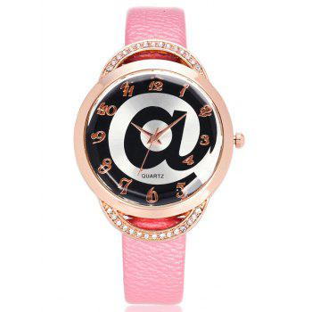 Artificial Leather Watchband Rhinestone Watch
