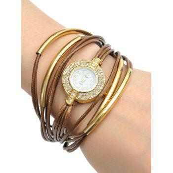 Rhinestone Faux Leather Rope Bracelet Watch