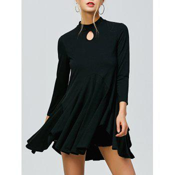 Buy Keyhole Neck Asymmetrical Ruched T-Shirt BLACK
