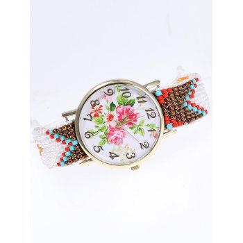 Dial Flower Printed Beads Braid Watch