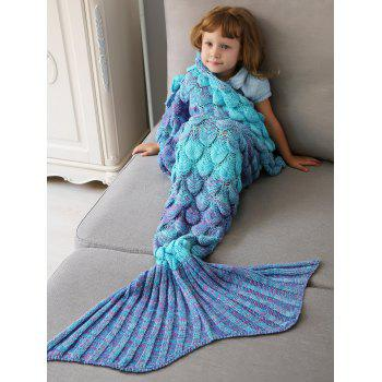 Crochet Fish Scale Knit Mermaid Blanket Throw For Kids - COLORMIX COLORMIX