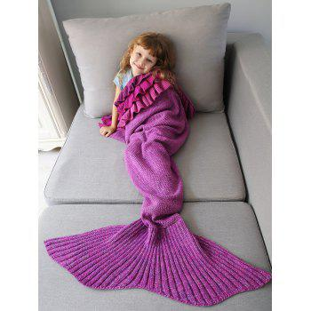 Multilayered Ruffles Knit Mermaid Blanket Throw For Kids - VIOLET ROSE VIOLET ROSE